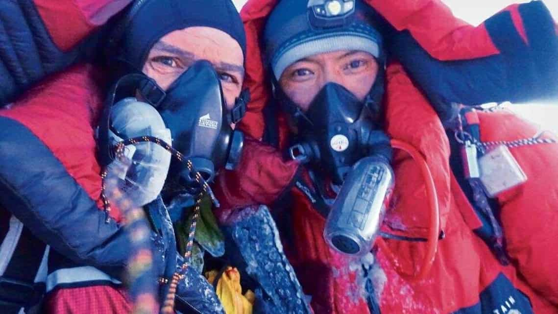 Jim Davidson (left) and P.K. Sherpa on the Everest summit on 22 May 2017.