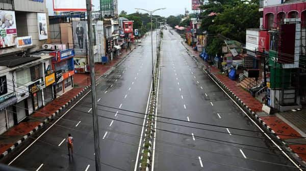 MG Road wears a deserted look during Covid-induced lockdown in Thiruvananthapuram (PTI)