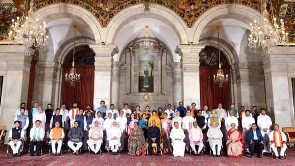 Prime Minister Narendra Modi and President Ram Nath Kovind with the new Union Cabinet ministers