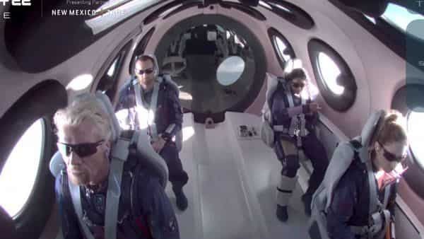 Bandla joined Branson and five others on board Virgin Galactic's SpaceShipTwo Unity to make a journey to the edge of space from New Mexico. (via REUTERS)