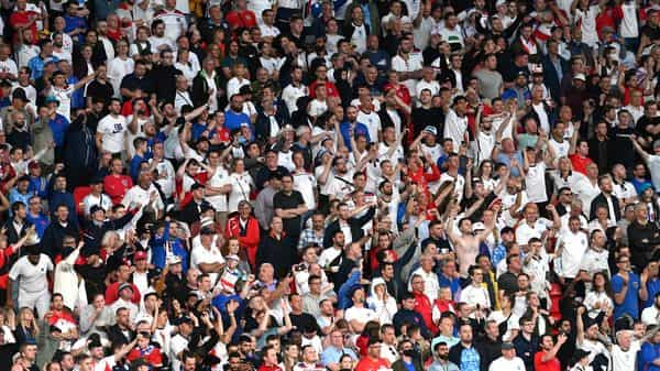 Spectators inside London's Wembley Stadium during the Euro 2020 final match between Italy and England.