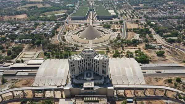 Aerial view of newly redeveloped Gandhinagar Capital Railway station.