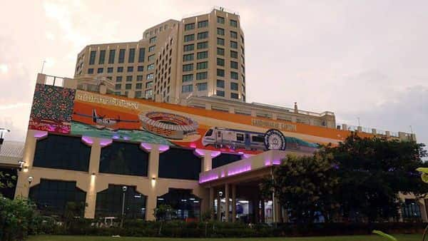India's first 5-star hotel atop a railway track at the redeveloped Gandhinagar Capital Railway Station. (ANI)