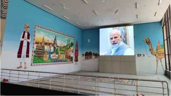 Gandhinagar Capital Railway Station: LED Display and Art Gallery Lounge