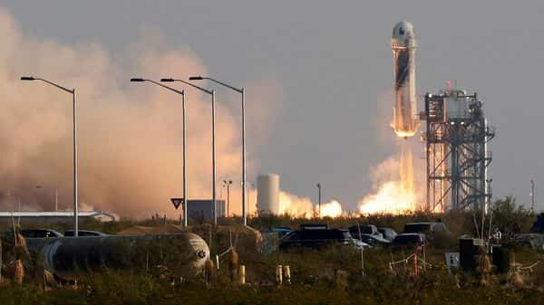 Billionaire businessman Jeff Bezos is launched with three crew members aboard a New Shepard rocket on the world's first unpiloted suborbital flight from Blue Origin's Launch Site 1 near Van Horn, Texas , U.S., July 20, 2021. (REUTERS)