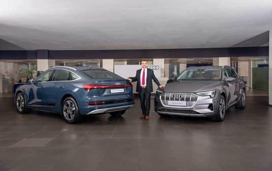 Balbir Singh Dhillon, Head of Audi India with the Audi e-tron 55 and Audi e-tron Sportback 55