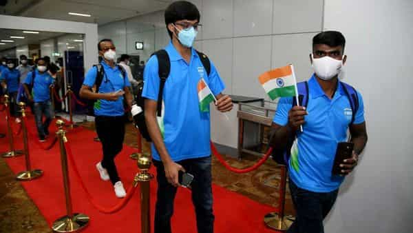 Indian Olympic players at Delhi Airport (ANI)