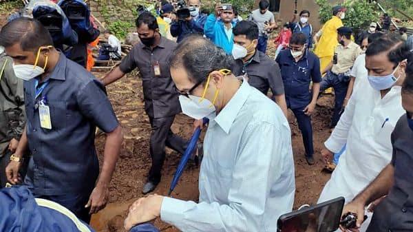 Maharashtra Chief Minister Uddhav Thackeray visits Taliye village of Mahad, Raigad to review the flood-like situation following incessant rain in the area (ANI)