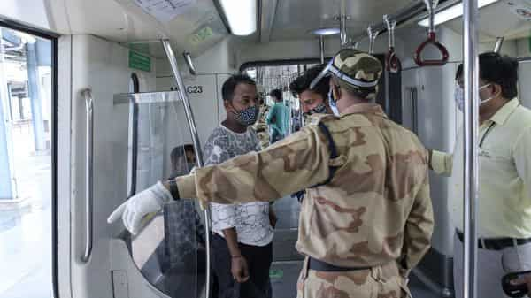 File photo: As travel in a standing position is still not permitted by the authorities, entry at stations will also continue to be regulated through identified gates. (AP)