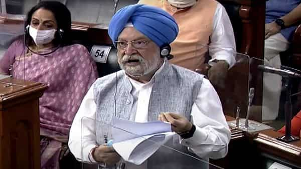 Union Minister of Petroleum and Natural Gas Hardeep Singh Puri speaks in Lok Sabha during the Monsoon session of Parliament, in New Delhi on Monday. ((ANI Photo/ LSTV))