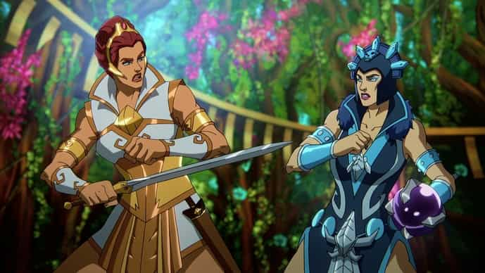 Teela (Sarah Michelle Gellar) and Evil-Lyn (Lena Headey) own the spotlight in this new Masters Of The Universe adventure
