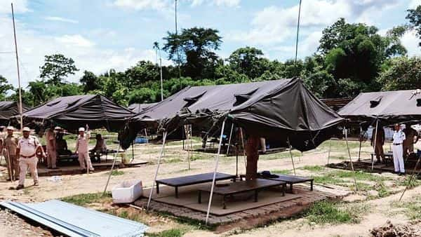 Police deployed at Lalilapur police patrol post in Cachar district bordering Mizoram following the interstate border clash.