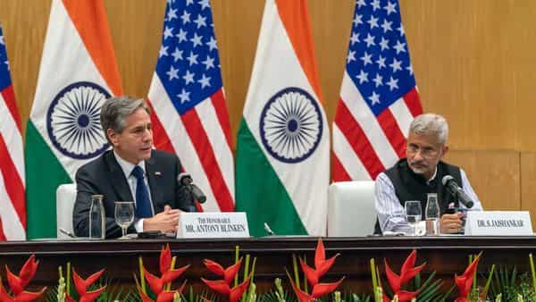 External Affairs Minister S Jaishankar and US Secretary of State Antony Blinken addresses the joint statement, in New Delhi on Wednesday. (ANI Photo)