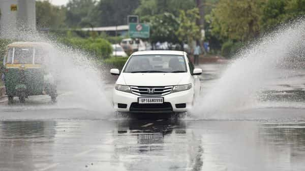 Waterlogging after heavy rain on the main road (HT)