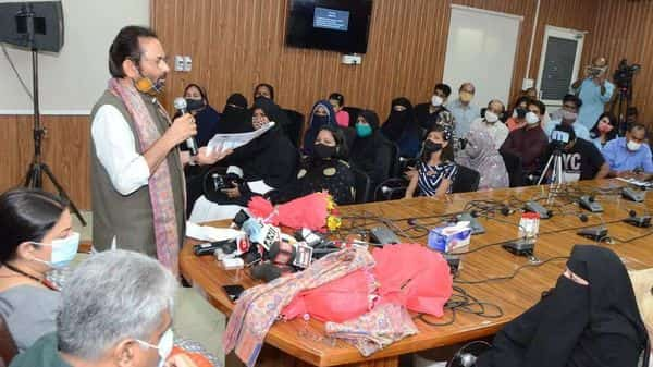 Union ministers Mukhtar Abbas Naqvi, Smriti Irani and Bhupender Yadav at a Muslim Women Rights Day event on Sunday. (Photo credit: PIB)