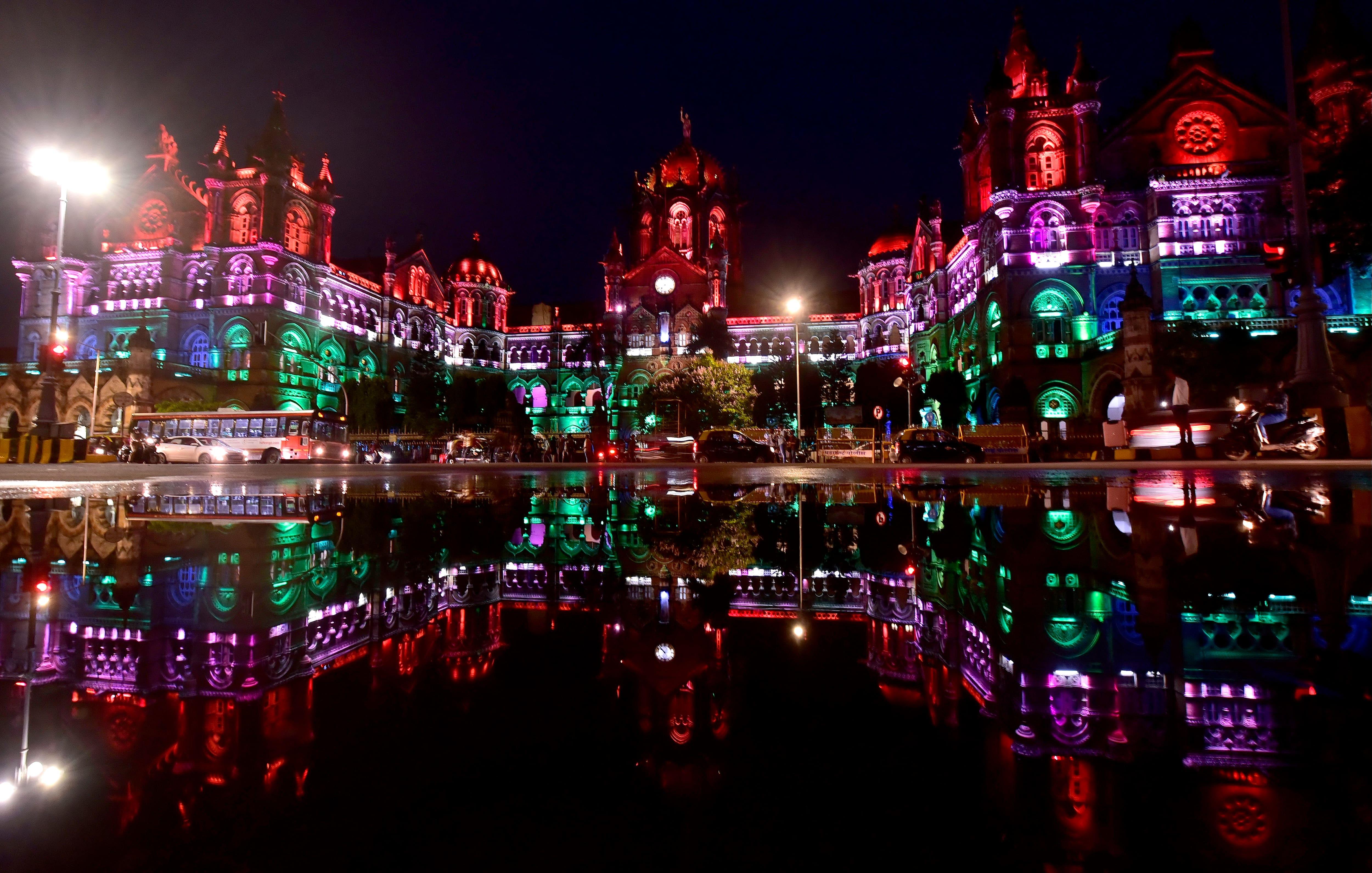 Chhatrapati Shivaji Maharaj Terminus illuminated on the eve of 75th Independence Day, at CSMT, in Mumbai.