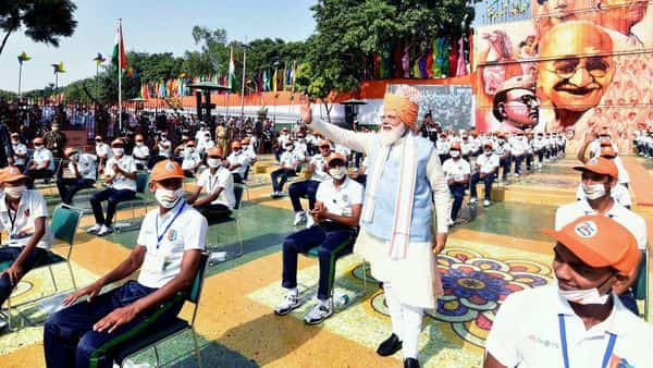 Prime Minister Narendra Modi after addressing the Nation on the occasion of 75th Independence Day from the ramparts of Red Fort, in New Delhi on Sunday. ((ANI Photo))
