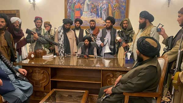 A file photo of Taliban fighters after taking control of Afghan presidential palace in Kabul on Aug. 15, (AP)