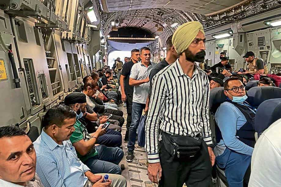 Indian nationals aboard a military aircraft set to depart Kabul airport on 17 August;