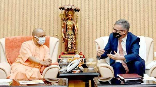 British high commissioner to India, Alex Ellis, met UP chief minister Yogi Adityanath at the latter's official residence. (Sourced) (HT_PRINT)