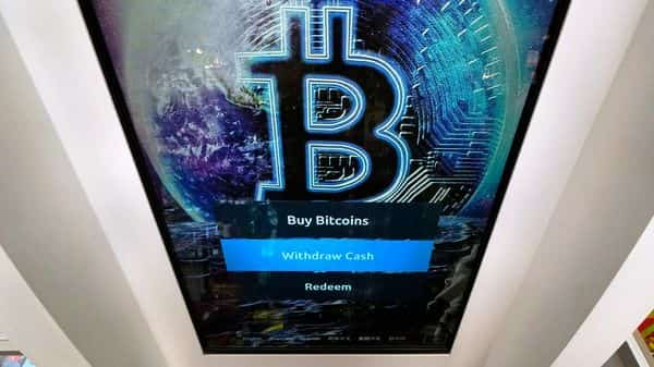 FILE - In this Feb. 9, 2021 file photo, the Bitcoin logo appears on the display screen of a crypto currency ATM at the Smoker's Choice store (AP)