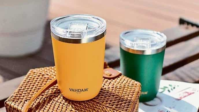 You have the option of glass and thermos tea tumblers as well as thermos travel mugs.