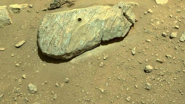 NASA MARS mission: The drill hole from Perseverance's second sample-collection attempt can be seen