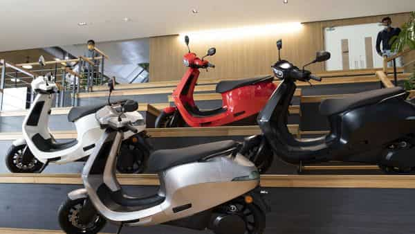 Ola scooters during a launch at the Ola Campus in Bengaluru. (Bloomberg)
