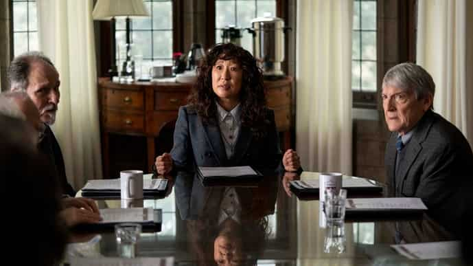 Sandra Oh and (right) Mark Philip Stevenson in 'The Chair'. Image via AP