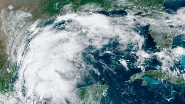This satellite image provided by NOAA shows Tropical Storm Nicholas in the Gulf of Mexico on Sept. 12, 2021. (AP)