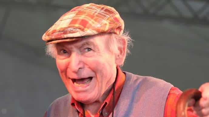 George Wein appears on stage at the Newport Jazz Festival. Photo via AP