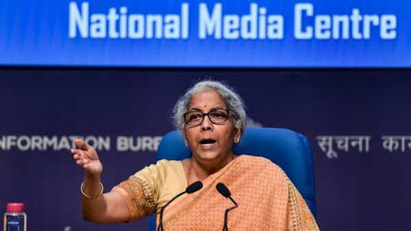 New Delhi: Union Finance Minister Nirmala Sitharaman speaks during a press conference at NMC on Thursday. (PTI)