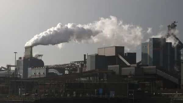 Smoke is seen coming out of a chimney at the Tata steel plant in Ijmuiden, Netherlands. File photo (REUTERS)