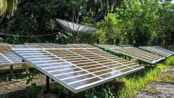 Radio antennas with solar-charging panels.