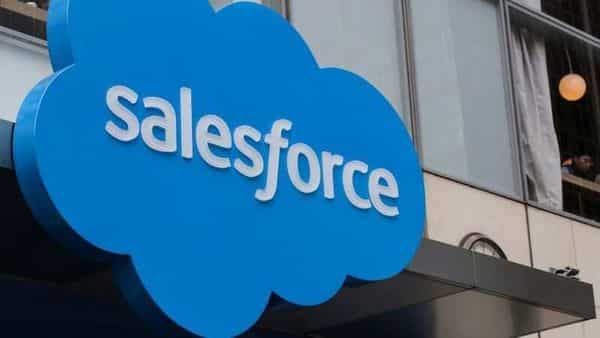The company logo for Salesforce.com is displayed on the Salesforce Tower in New York City, US. Reuters