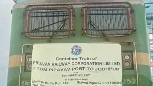 Indian Railways' flagging off of first electric train from Pipavav Port siding to Bhagat Ki Kothi on High Rise OHE