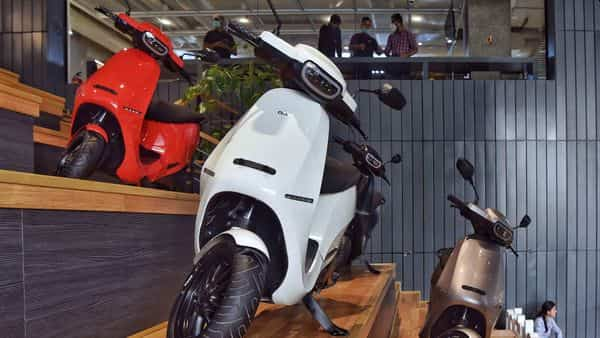 Ola electric scooters displayed during its launch at the Ola headquarters in Bangalore (AFP)