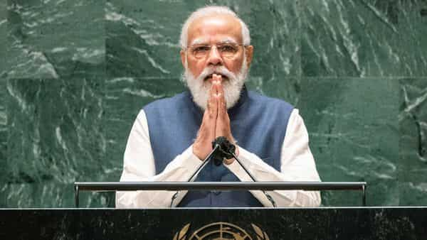 Prime Minister Narendra Modi addresses the 76th Session of the U.N. General Assembly at United Nations headquarters in New York (AP)