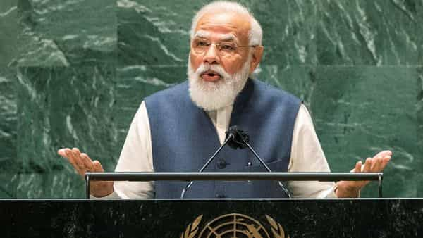 India's Prime Minister Narendra Modi addresses the 76th Session of the U.N. General Assembly in New York City (REUTERS)