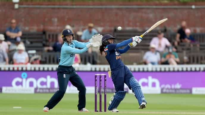 India Women's Cricket team's Mithali Raj, right, in action against England during the One Day International cricket match at the The County Ground in Taunton, England, Wednesday June 30, 2021. (David Davies/PA via AP)