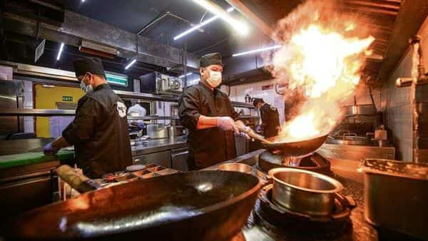 A scene from a regular work day at Mamagoto's cloud kitchen in Noida, Uttar Pradesh. Azure, which runs the restaurant Mamagoto, has opened 10 cloud kitchens since the pandemic. (Photo: Priyanka Parashar)
