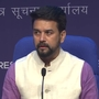 Union Minister Anurag Thakur at a Cabinet briefing in Delhi today