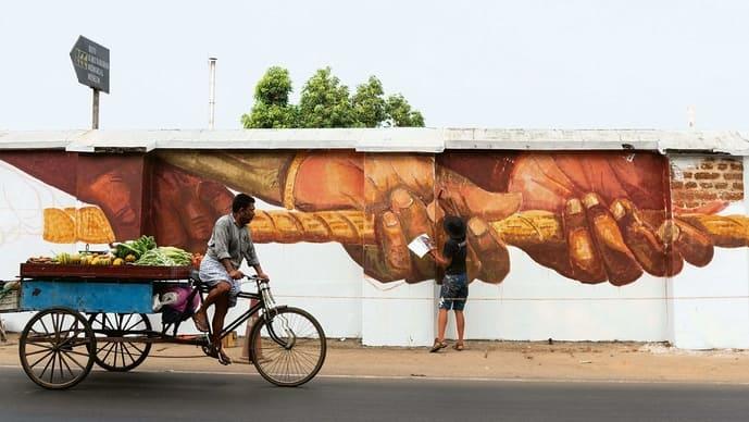 Graffiti by Anpu Varkey, part of 'Lokame Tharavadu'