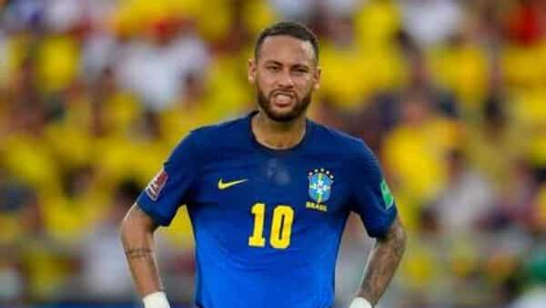 Brazil's Neymar gestures during a qualifying soccer match for the FIFA World Cup Qatar 2022 against Colombia in Barranquilla, Colombia, Sunday, Oct. 10, 2021. (AP Photo/Fernando Vergara) (AP)