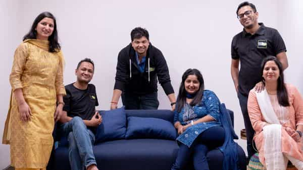 The ReshaMandi team (from left) Sheelu Agarwal with husband Saurabh Agarwal, chief technology officer; Mayank Tiwari, chief executive officer, with his wife Natasha Tiwari and Utkarsh Apoorva, co-founder and CBO with his wife Monica Apoorva.