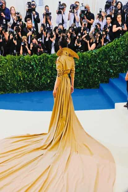 Priyanka Chopra in her Ralph Lauren trench coat gown at the Met Gala. Photo: Getty Images