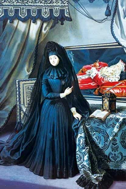 Anna Maria Luisa de Medici in 'The Electress Palatine in mourning dress' by Jan Frans van Douven, 1717.