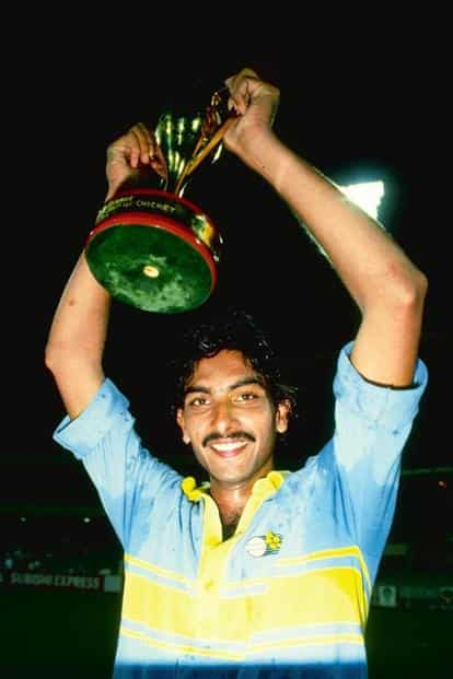 Undated: Ravi Shastri of India holds the Man of the Series World Championship Trophy aloft. Credit: Adrian Murrell