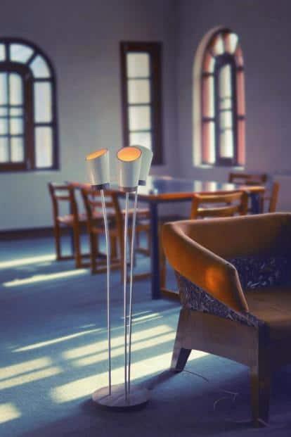 A papier mâché floor lamp.
