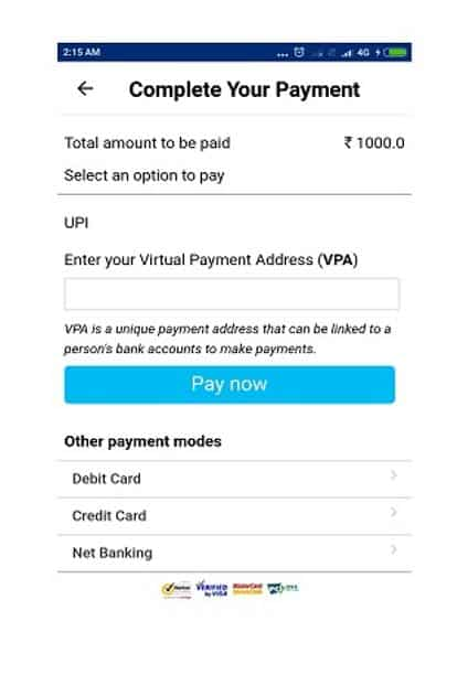 UPI feature is available in the Add money tab in the blue strip.